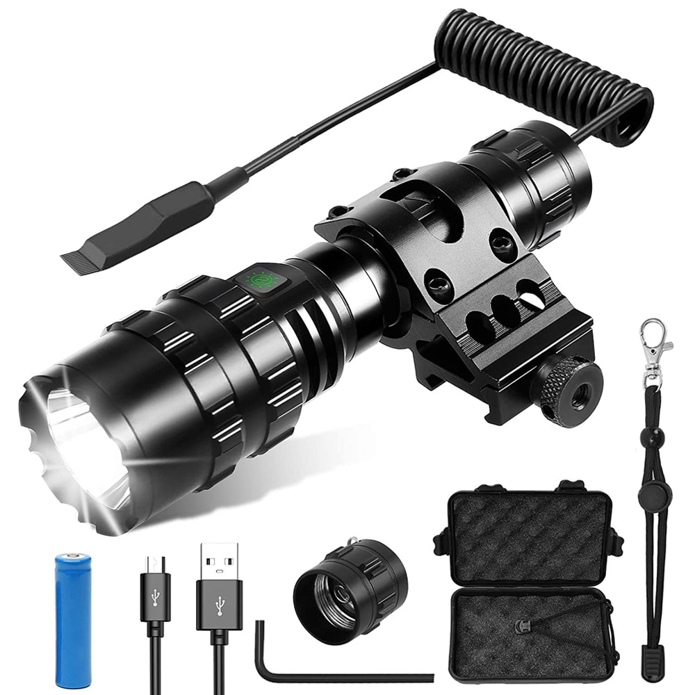 Tactical Flashlight 1600 Lumens USB Rechargeable Torch Waterproof Hunting Light with Clip Hunting Sh