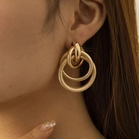 punk gold big round knot earrings women fashion exaggerated metal geometric pendant personalized earring girl party jewelry