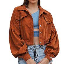 Chaqueta corta de pana de Color sólido para mujer Chaquetas de retazos con hebilla solapa delgada cortavientos para mujer abrigo de manga larga