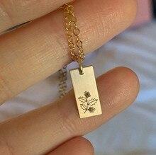 Mois de naissance fleur pendentif collier pour femmes lien en acier fleur en acier inoxydable lien collier cadeau significatif bijoux de tous les jours