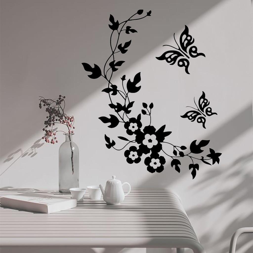 Papel pintado caliente negro mariposa Pared de flores pegatinas calcomanía decoración del hogar extraíble Pared de habitación calcomanías decoración del hogar en la pared