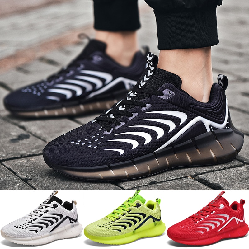 Reflective Men Running Shoes Glowing In Dark Men Sneakers Breathable Mesh Walking Shoes