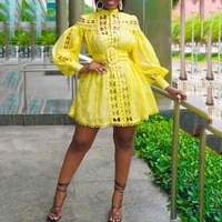 african dresses women fashion new africa yellow lace lantern sleeve a line mini elegant evening night club wear dress no belt