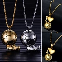 soccer necklaces ball enamel jewelry gold color stainless steel fitness football sport pendant chain for men women joyas