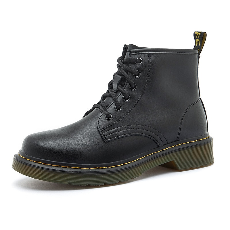 Genuine Leather Women Boots For Women Ladies Black Platform Women's Shoes Boots Waterproof Martin Motorcycle Zapatos De Mujer