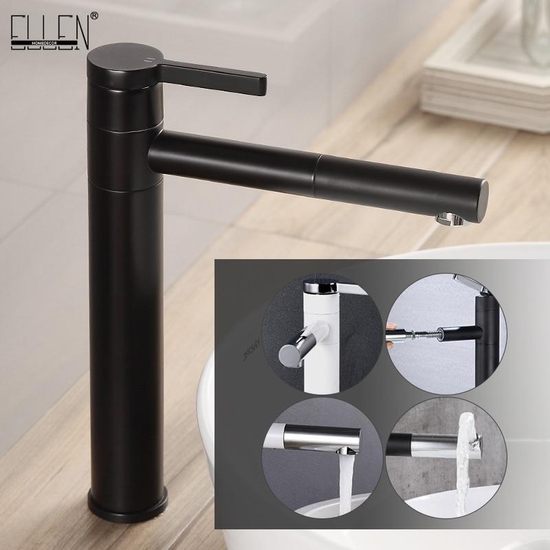Bacia quente e fria toque mixer 360 graus girar banho torneira da bacia de altura pia do banheiro torneiras pull out guindaste elf11077