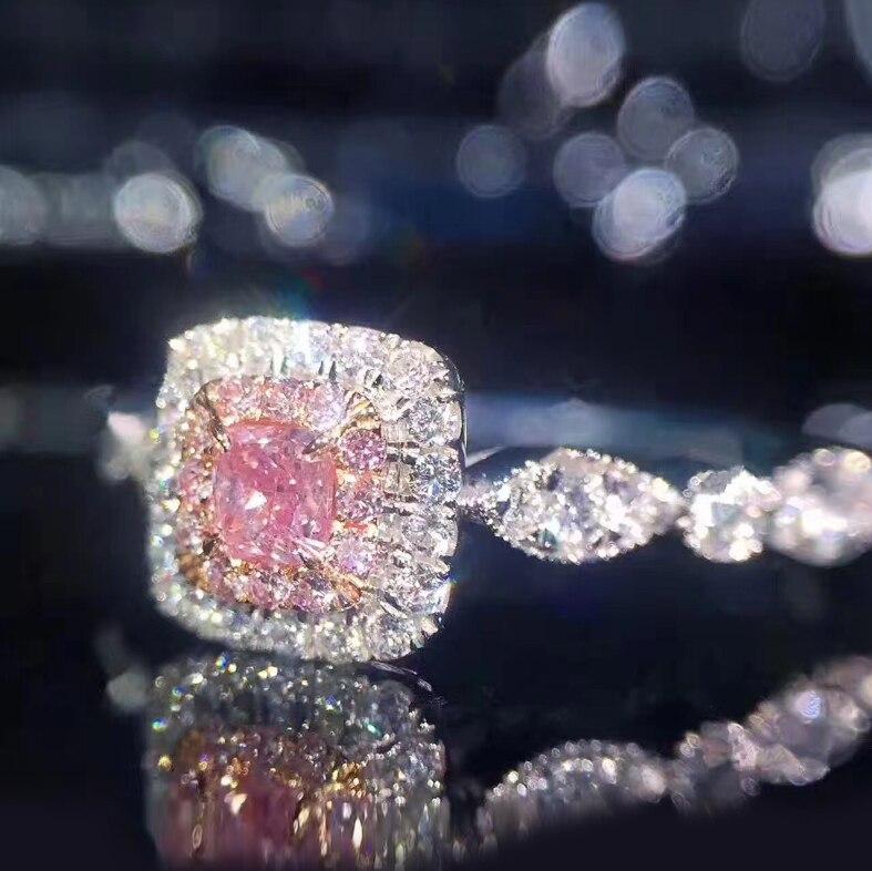 Anillo de compromiso de boda con piedra de circón Sona para amantes de los dedos de diamante cuadrado rosa de 1 quilates de Plata de Ley 925 de Sweetie