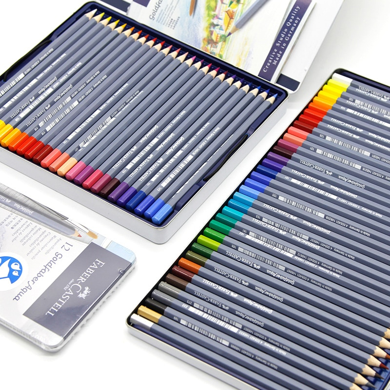 FABER CASTELL caja de hierro azul profesional 12/24/36/48 color agua color soluble lápiz arte grado arte dedicado color plomo