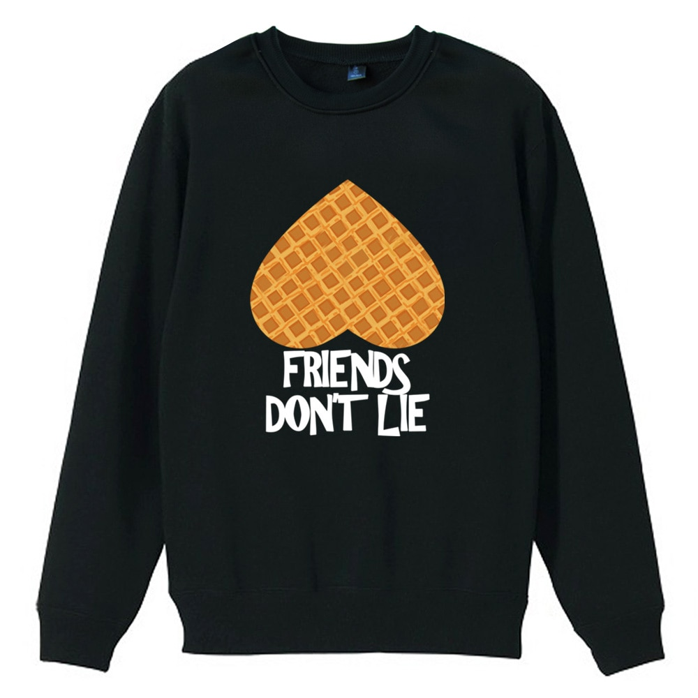 Stranger Things FRIENDS DONT LIE boca abajo corazón cinta Waffle Love Girl mujer Sudadera con cuello redondo vellón Jersey ZIIART