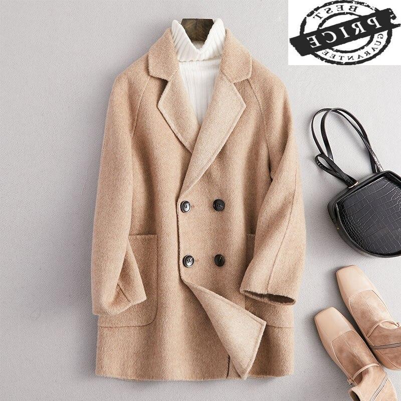 Abrigo elegante de Invierno para Mujer, chaquetas ajustadas coreanas 2021 de lana,...