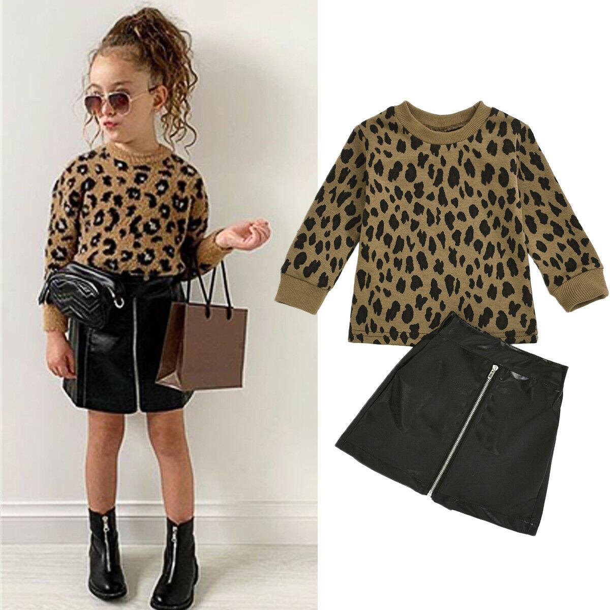 Комплект одежды для малышей из 2 предметов; Одежда для маленьких девочек комплект От 1 до 5 лет с леопардовым принтом пуловер Джемпер кожа Мини-юбки наряд вечерние