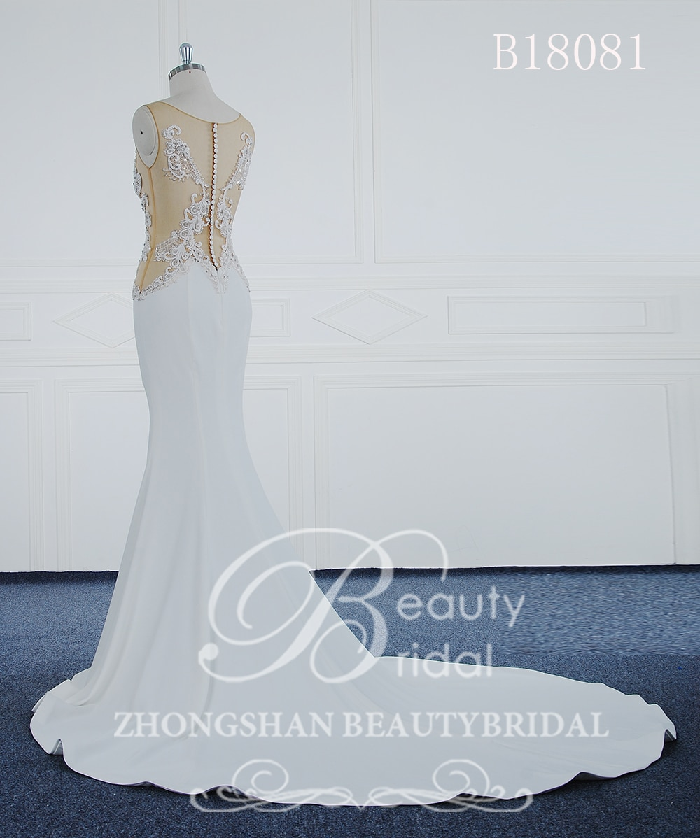 فستان زفاف حورية البحر 2020 ، مصنوع حسب الطلب ، مع زينة ، زر دانتيل ، B18081