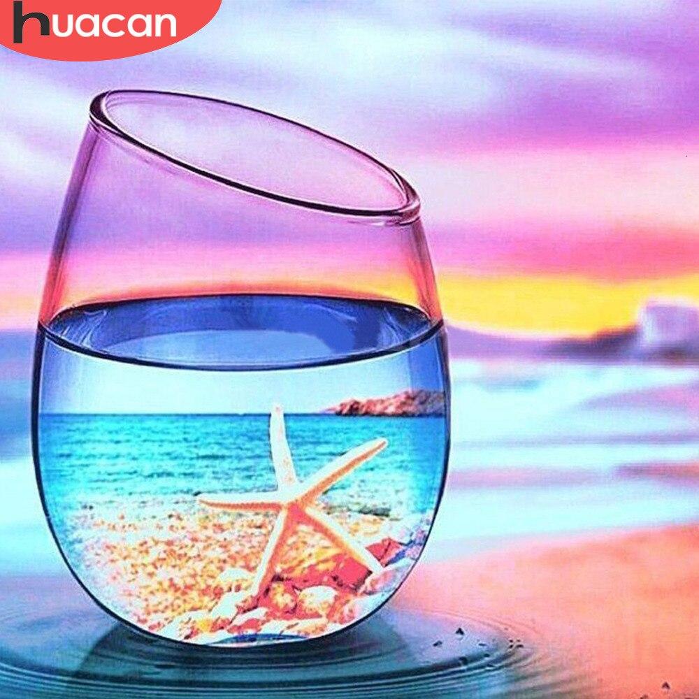 Алмазная вышивка huacan, декорация для дома, чашка, сделай сам, алмазная картина для пляжа, полностью квадратная звездочка, картина из горного х...