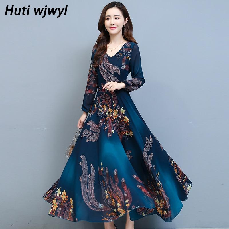 فستان ماكسي شيفون نسائي, فساتين كاجوال شيفون طويلة الأكمام يتوفر للمقاسات الكبيرة لخريف وشتاء 2021