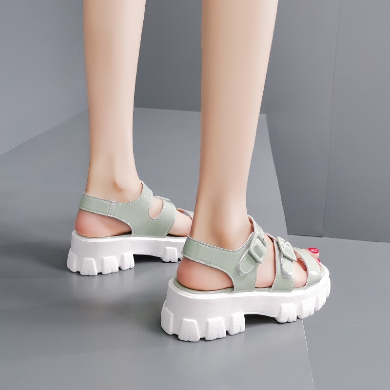 COOTELILI 2020 Sandals Women Shoe Fashion 5.5cm Heel Summer Women Sandals Fashion Sandals Buckle Non-slip Basic Casual