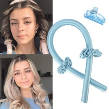 Heatless Hair Curlers For Long Hair To Sleep In Overnight No Heat Silk Curls Headband Ribbon and Fle