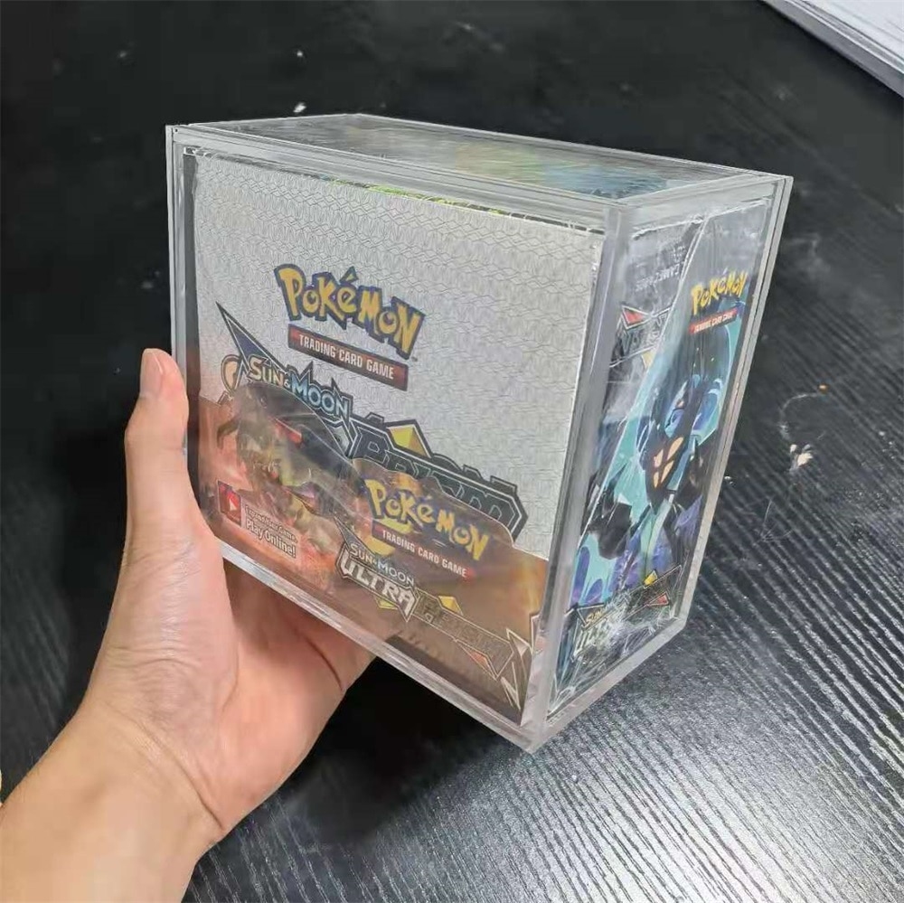 5mm Clear Acrylic Booster Box Display Case Plexiglass Perspex Pokemon Box Limited Edition Card Dustproof Collectibles Showcase acrylic plastic action figures princess starwars avengers display case box dustproof display box loz building block bricks toys