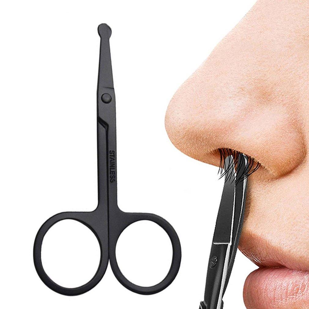 Ножницы из нержавеющей стали для стрижки волос в носу, ножницы с круглой головкой, острые и точные эпиляторы, полипропиленовый пакет