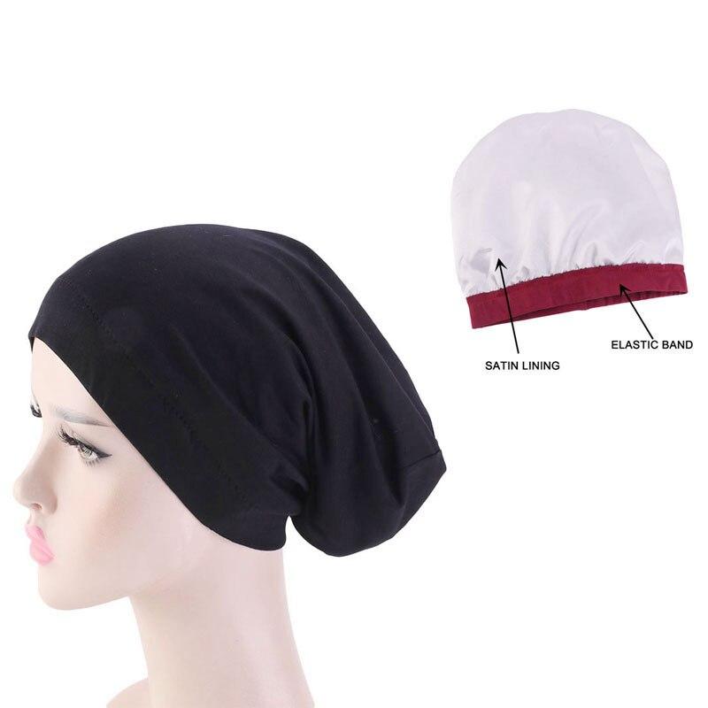 Женская однотонная хлопковая шляпа 2020, атласная Двусторонняя мусульманская шляпа, головные уборы