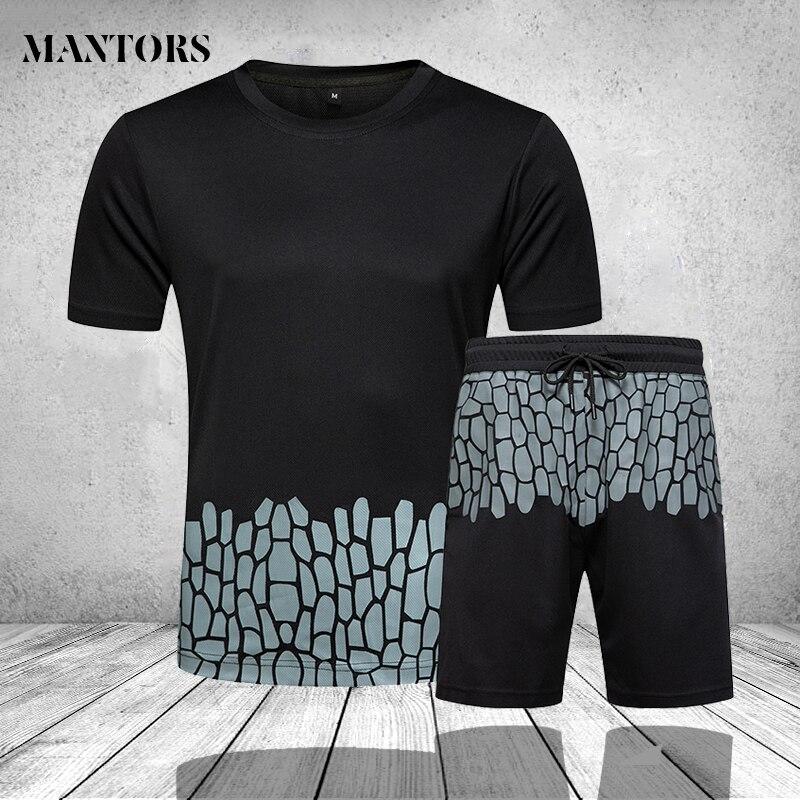 Conjuntos de pantalones cortos para hombre, chándal informal a la moda de verano, camiseta de dos piezas para hombre, pantalones cortos de playa, pantalón corto de chándal negro blanco