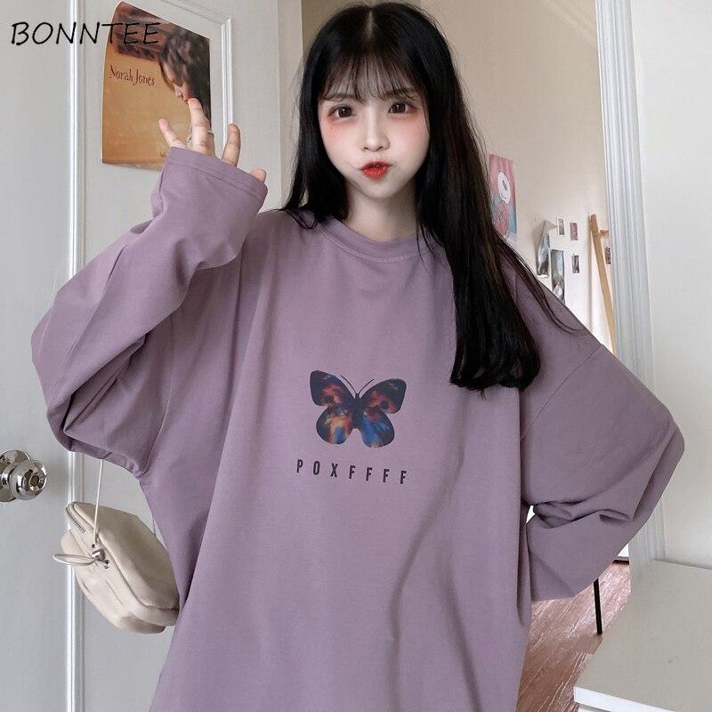 Hoodies Women Butterfly-Print Oversize BF Ulzzang Drop-shoulder Ins Popular Autumn Slouchy Tunic Hoody Round Neck Street Girls