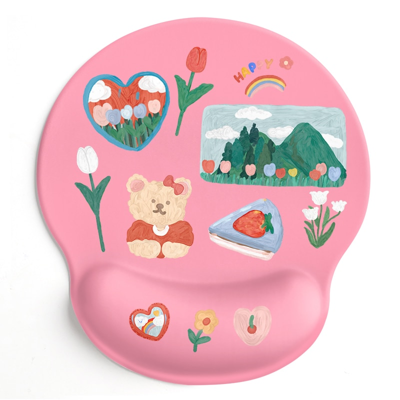 24x22x2cm Silica Gel  Oil Painting Bear  Mouse Pad  Lovely Wind  Rest to Relieve Wrist Pressure