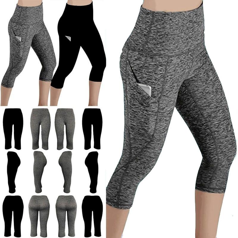 Leggings 3/4 Pants Female Capri Casual Pant Sporting Fitness High Waist Pants Side Pockets Design Sp