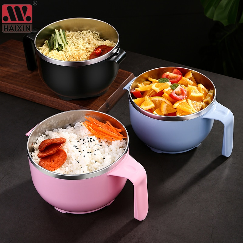 NEW 304 Stainless Steel Noodle Bowl with Handle Lid Lunch Box Rice Soup Instant Food Container household utensil Bento Box 1PCS
