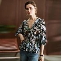 blouse women casual style 100 viscose plant printed v neck elastic waist three quarter lantern sleeves ladies new fashion