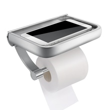 Wall-mounted Toilet Paper Holder Mobile Phone Storage Rack Bathroom Aluminum Alloy Shelf