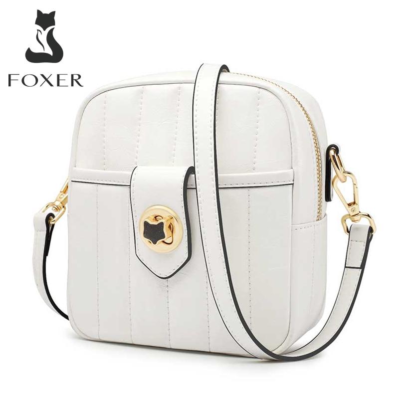 FOXER, bolso de teléfono para mujer, Mini bolso de hombro tipo bandolera de piel dividida multicapa, bolsos cruzados para mujer, bolsos para teléfono móvil, monedero