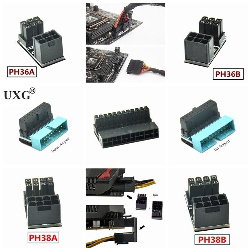 180 Graden Schuine Atx Vrouwelijke 6Pin 8pin Om Mannelijke 6pin 8pin 24pin Power Adapter Voor Desktops Grafische Kaart Installatie Richting