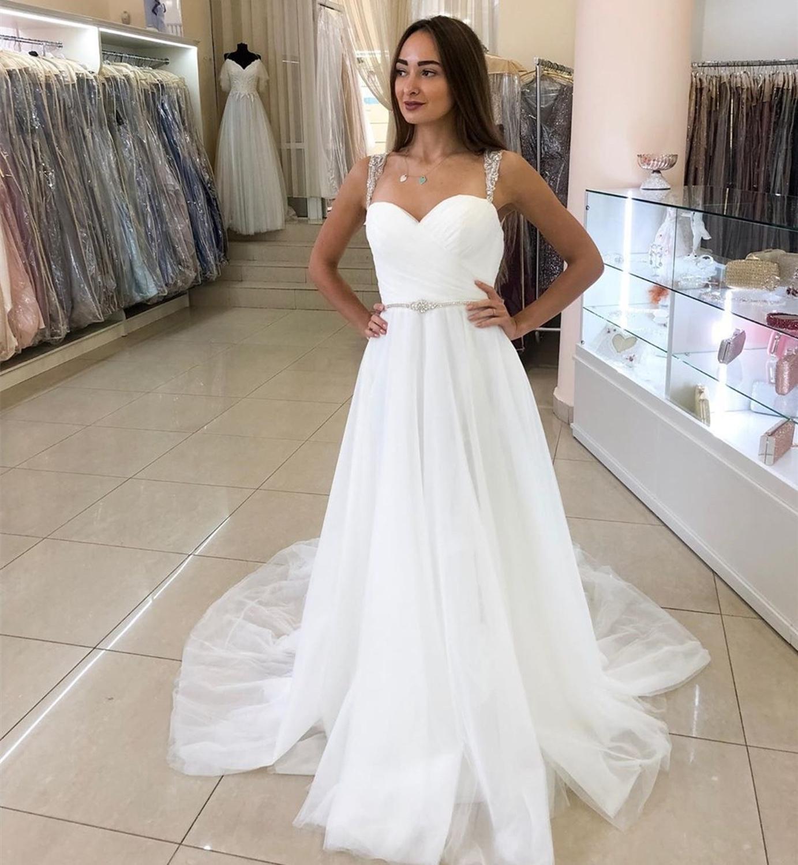 Vestido De novia De corte en A, con tirantes finos, De tul...