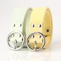 unisex nylon wide belt women alloy round buckle canvas webbing belts solid outdoor new design sports belt eye button waistband