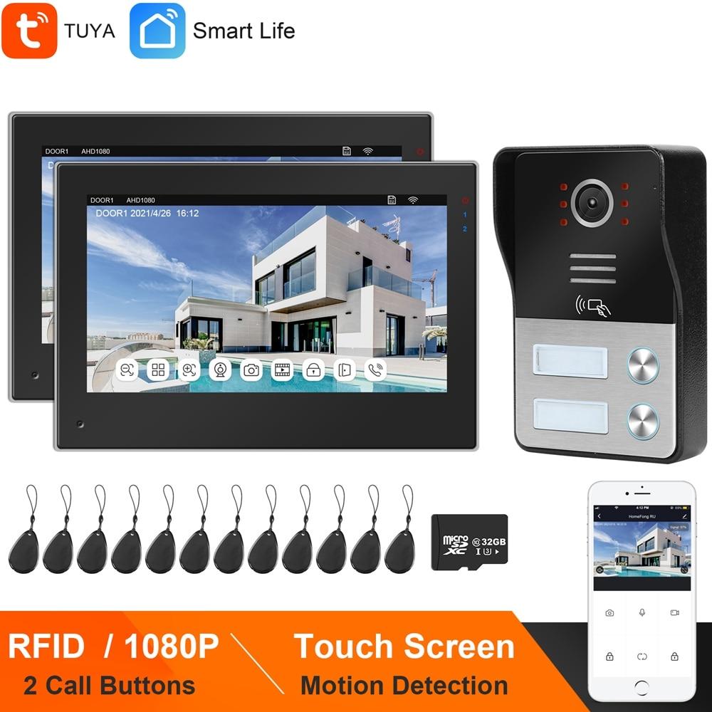 HomeFong واي فاي فيديو إنترفون للمنزل شقة إنترفون تويا الحياة الذكية APP شاشة تعمل باللمس 2 شاشات 1080P رفيد جرس الباب كاميرا