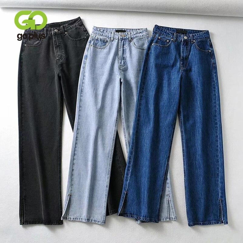 جينز GOPLUS بنطال ذو قصة أرجل واسعة مقاس كبير جينز أسود للأم 2021 نسائي عتيق بخصر مرتفع منقسم جان فيم Spodnie Damskie C11537