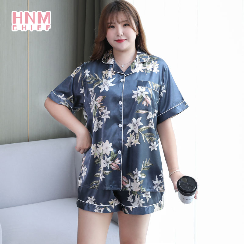 Oversize Women Summer Pajama Sets Short Sleeve Top Shorts Homewear V-neck Ladies Loose Casual 2-piec