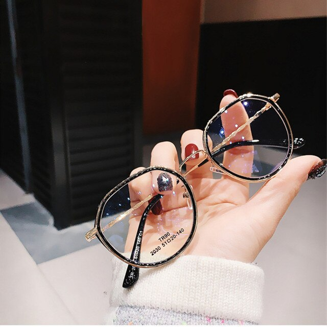 -1.0 -1.5 -2.0 -2.5 -3.0 to -6.0 Women Men Fashion Round Myopia Glasses Oversized Eyeglasses Frames Students Metal Clear Glasses 6