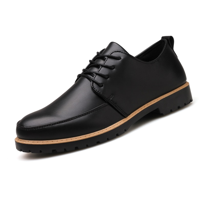 2019 New Men Dress Shoes Genuine Leather Male Oxford Italian Classic Vintage Lace-up Men's Business