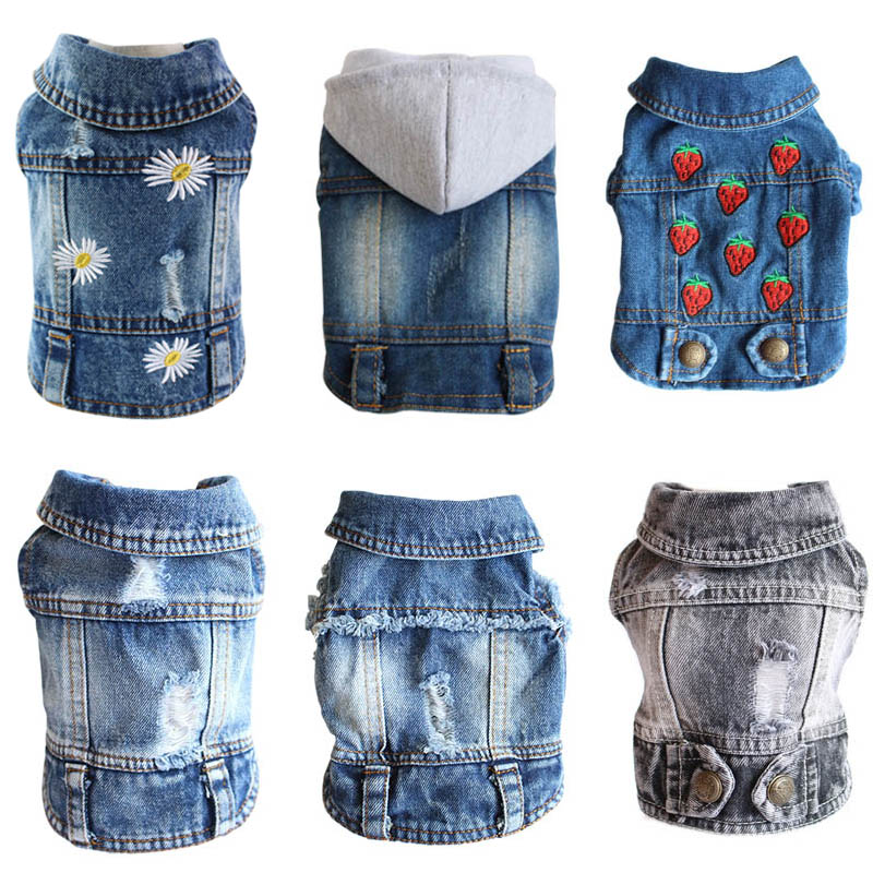 XS-2XL Denim Dog Clothes Cowboy Pet Coat Puppy Clothing For Small Dogs Jeans Jacket Vest Outfits Cat
