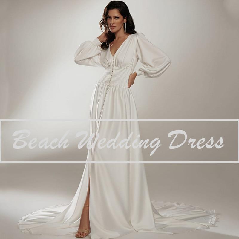 Vestido De Novia bohemio boda Vestido 2021 Vintage manga larga cuello en...