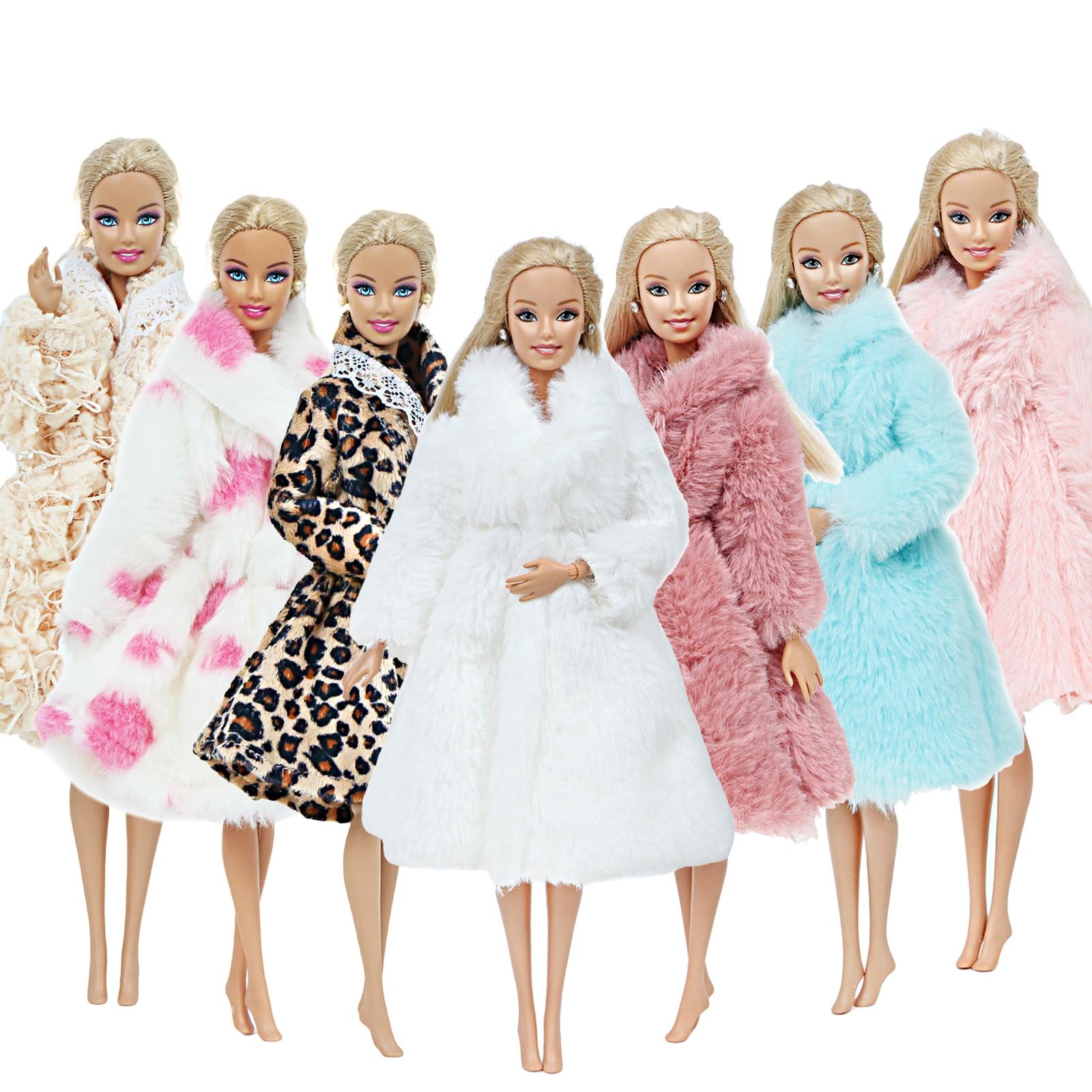 1 шт., ручная работа, высококачественное Кукольное пальто, платье, мех для куклы Барби, зимняя одежда, одежда леопардовой расцветки, аксессуары для куклы, детская игрушка-кукла 12 дюймов