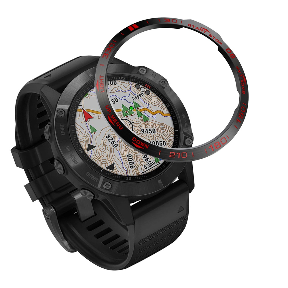 Cubierta adhesiva del anillo protector del bisel del reloj para la caja de Metal antiarañazos del reloj inteligente de Garmin Fenix6/Fenix6 Pro/Fenix6 zafiro