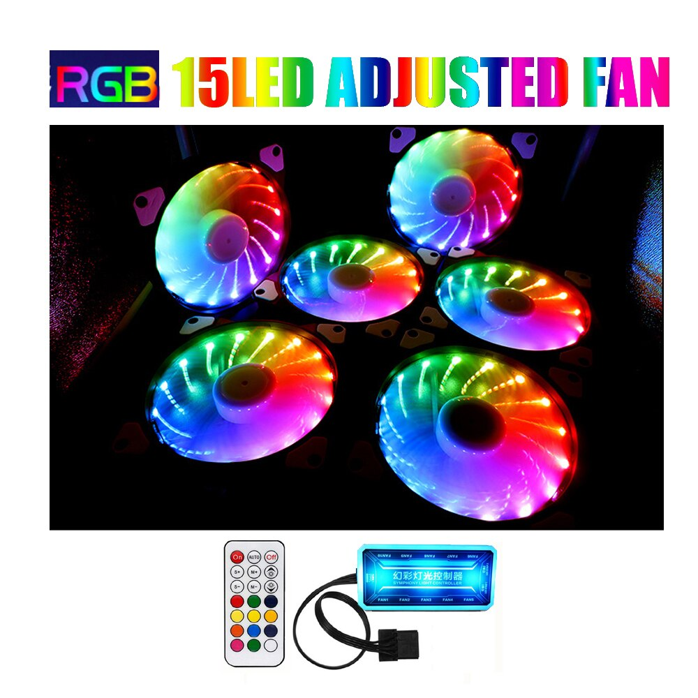 RGB fan 120mm set Adjusted 15LED pc fan controller cooler 12cm Computer game Case PC Cooling Fan quiet  Remote fan sync led hub