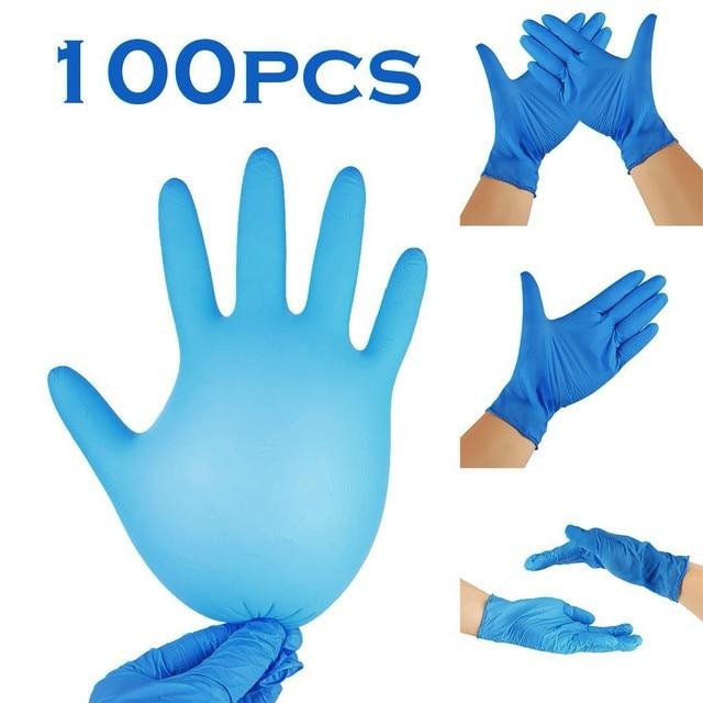 100pcs Blue Disposable Latex Gloves Waterproof Powder Latex Gloves Dishwashing Kitchen Work Rubber Garden Cleaning Gloves