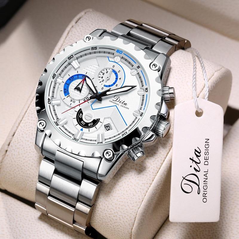Quartz Chronograph Watch Men Stainless Steel Sport Mens Watches Male Business Waterproof Bracelet Wr