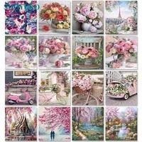 Sdomuno     peinture par numeros de fleurs sur toile  60x75cm  sans cadre  bricolage  decor de maison