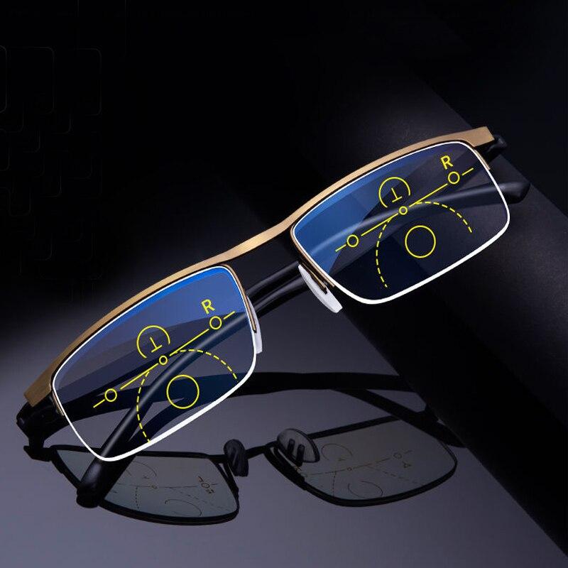 JN IMPRESSION Progressive Smart zoom glasses Reading Glasses Men for Reader Near Far sight diopter 1.0-4.0