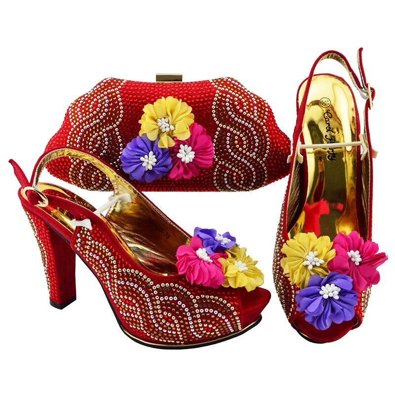 2020 جديد ins أحذية أنيقة وحقيبة مجموعات التصميم الإيطالي مطابقة الحقائب مع النساء عالية الجودة للحزب والزفاف في الكعب العالي