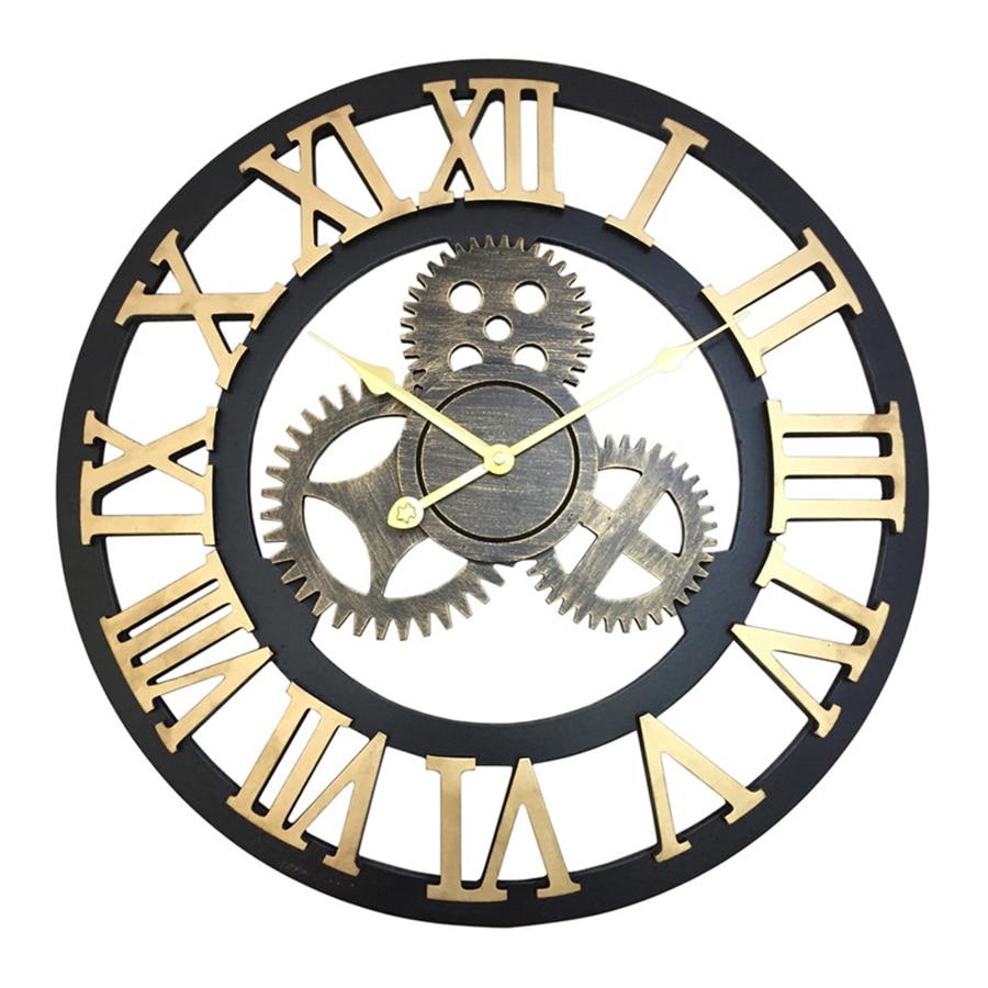 Industrial Americano equipo para Bar Café antiguo reloj de pared diseño creativo estudio grandes decorativos Relojes de pared decoración del hogar W